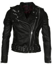 Womens Waxed Sheepskin Leather Biker Jacket Black 1