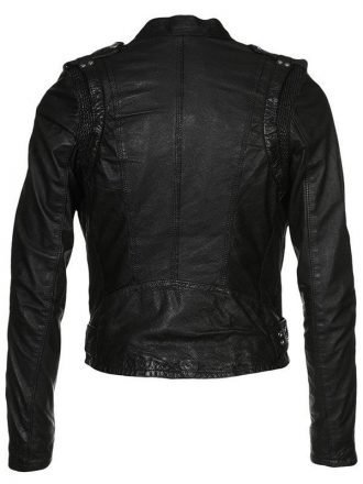 Womens Waxed Sheepskin Leather Biker Jacket Black