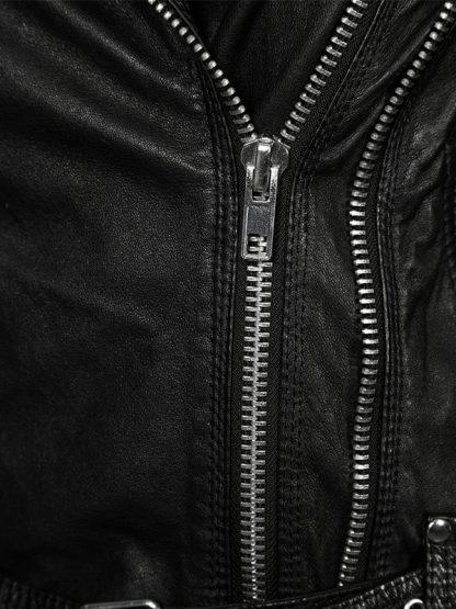 Womens Waxed Sheepskin Leather Biker Jacket Black