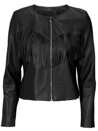 Womens Western Style Fashion Leather Jacket Black 1
