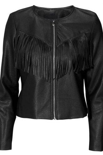 Womens Western Style Fashion Leather Jacket Black 1