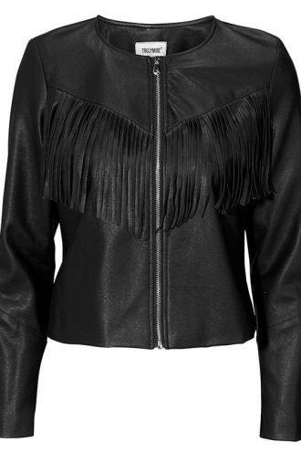 Womens Western Style Fashion Leather Jacket Black