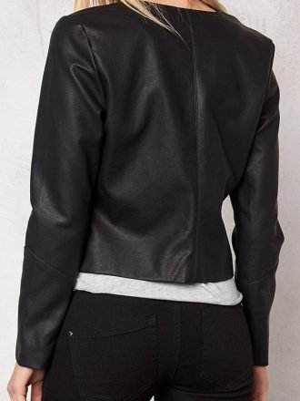 Womens Western Style Fashion Leather Jacket Black