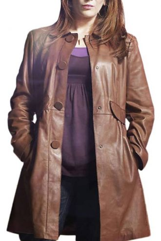 Doctor Who Catherine Tate Double Breasted Leather Coat