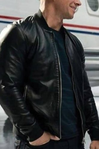 Infinite Evan Michaels Leather Bomber Jacket