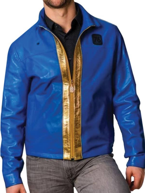 Men Biker Blue Jacket