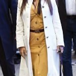 Salma Hayek White Leather Trench Coat