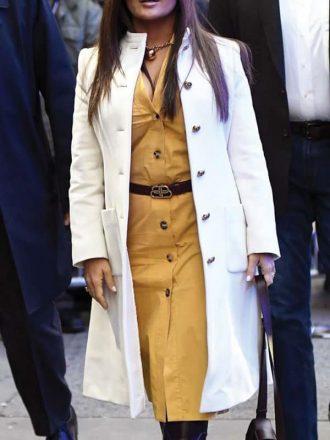 Salma Hayek White Leather Trench Coat