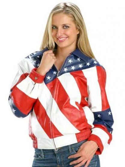 American Flag Leather Jacket