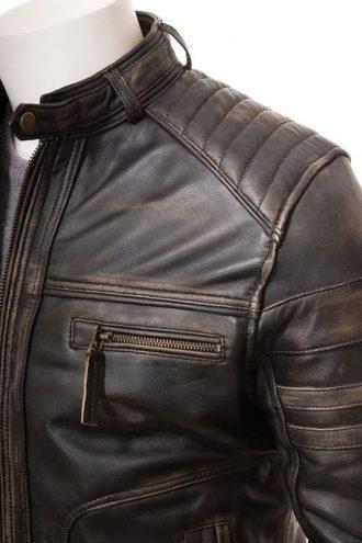 Brown Leather Cafe Racer Vintage Jacket
