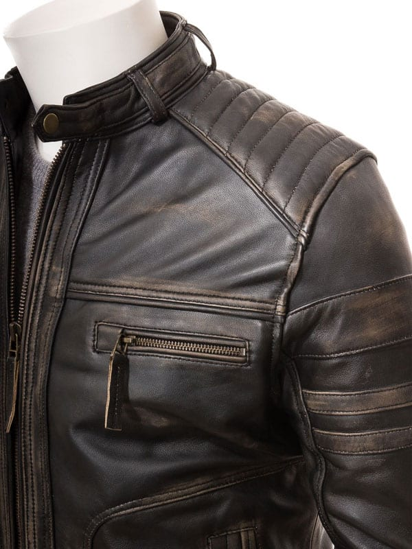 Brown Leather Cafe Racer Vintage Jacket
