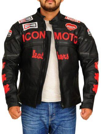 Icon Moto Biker Style Leather Jacket