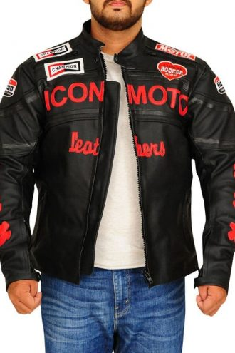Icon Moto Biker Style Leather Jacket