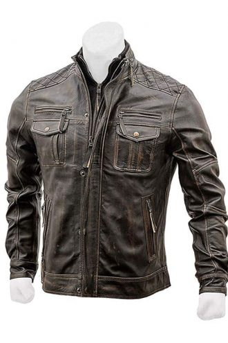 Mens Biker Slim Fit Vintage Distressed Cafe Racer Jacket