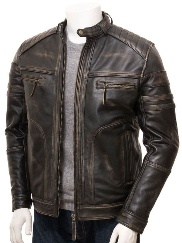 Mens Cafe Racer Vintage Brown Leather Jacket