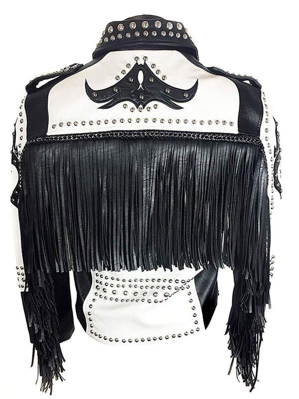 Mens Tribal Rock Punk Gothic Rivet Studded Motorcycle Fringe Biker Leather Jacket