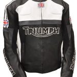 Mens Triumph Motorcycle Racing Biker Leather Jacket