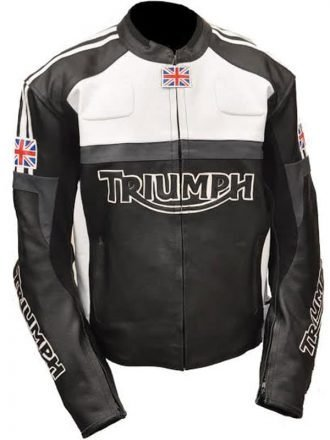 Mens Triumph Motorcycle Racing Biker Leather Jacket