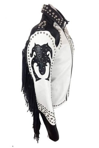 Tribal Ghotic Punk Studded Black Leather Jacket