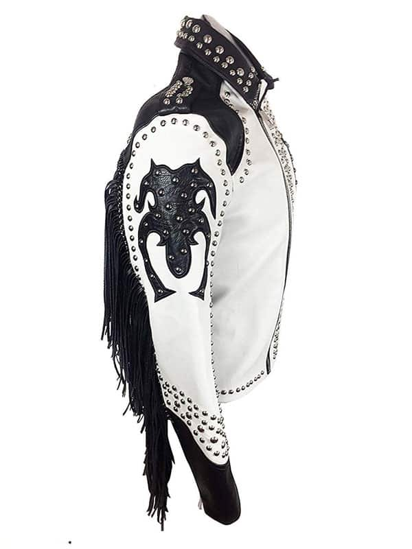 Tribal Ghotic Punk Studded Black Leather Jacket