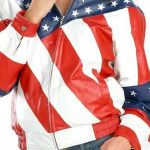 Womens American Flag Leather Jacket