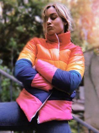 Brie Larson Puffer Rainbow Jacket