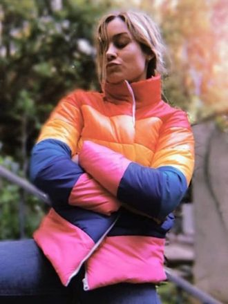Celebrity Inspired Brie Larson Jacket Puffer Rainbow