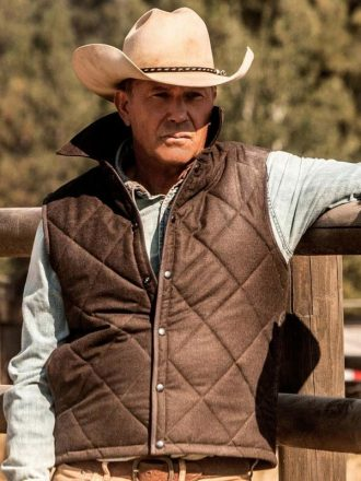 John Dutton Yellowstone Vest Quilted Brown