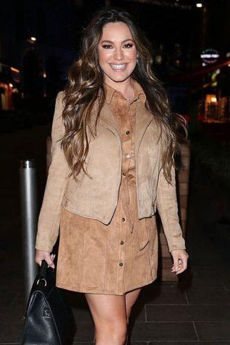 Kelly Brook Leather Camel Suede Biker Jacket