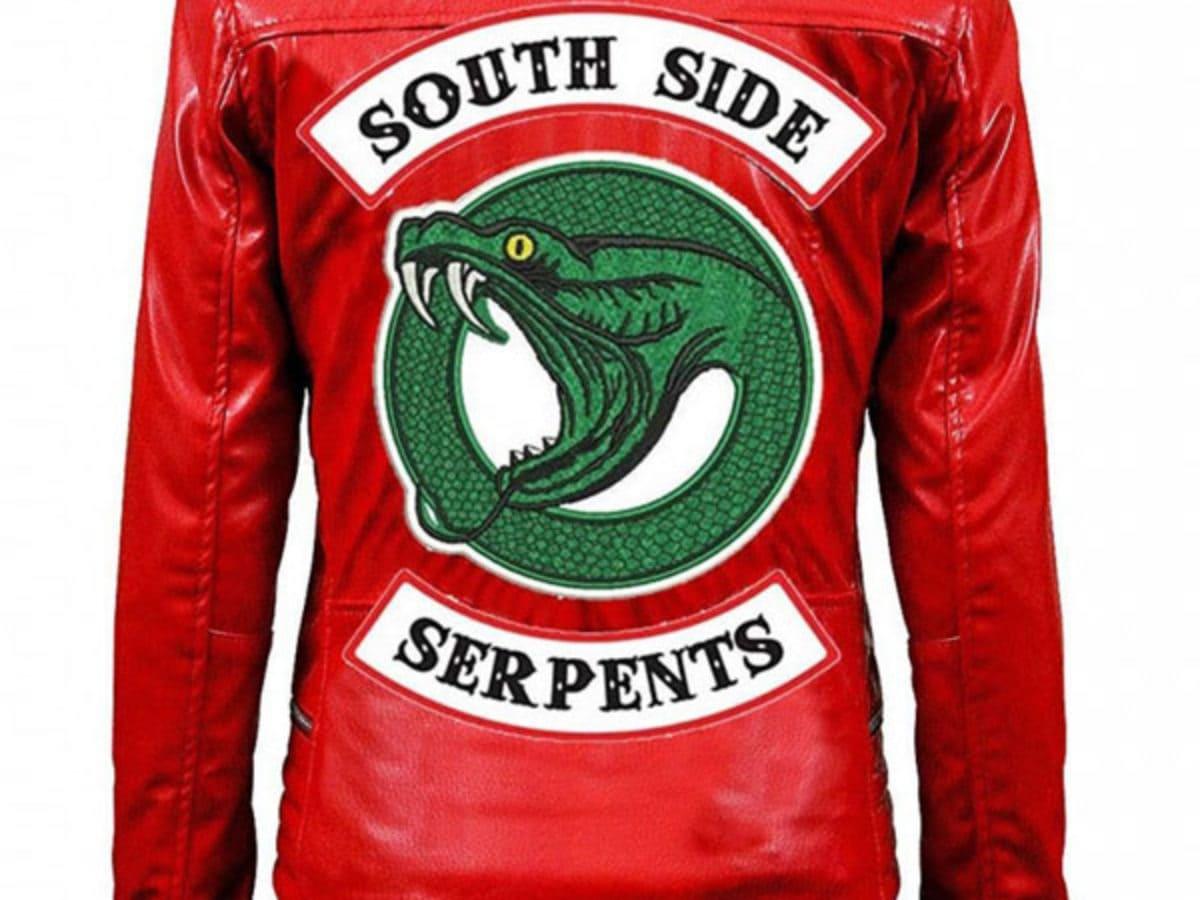 S//M Women Style Cheryl Blossom Red Southside Serpent Biker faux Leather jacket