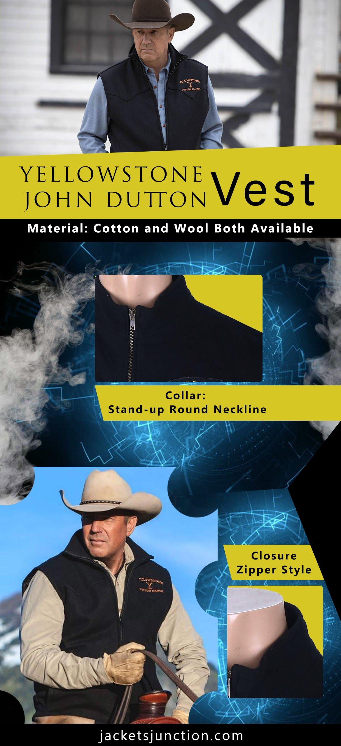 Yellowstone John Dutton Vest Wool Blend infographic banner