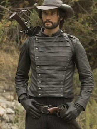 Black Leather Jacket worn by Hector Escaton in Tv Series Westworld