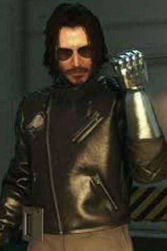 Black Leather Jacket worn by Keanu Reeves In Game Cyberpunk 2077