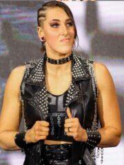 Black Studded Leather Vest worn by Rhea Ripley in WWE