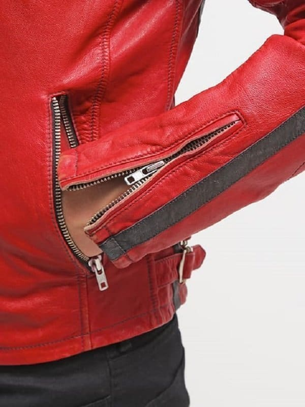 Cafe Racer Red Leather Motorcycle Jacket