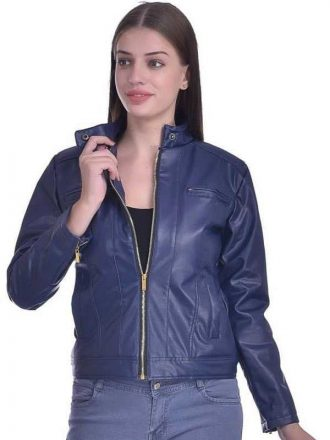 Christy World Solid Women Stylish Blue Leather Jacket