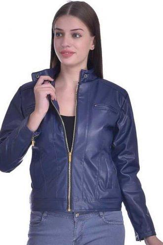 Christy World Solid Women Stylish Blue Leather Jacket