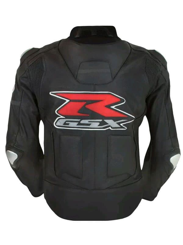 GSX-R Black Leather Jacket With Padded at JacketsJunction