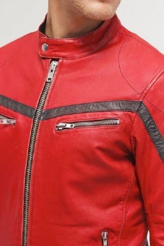 Men Cafe Racer Red Leather Motorcycle Jacket