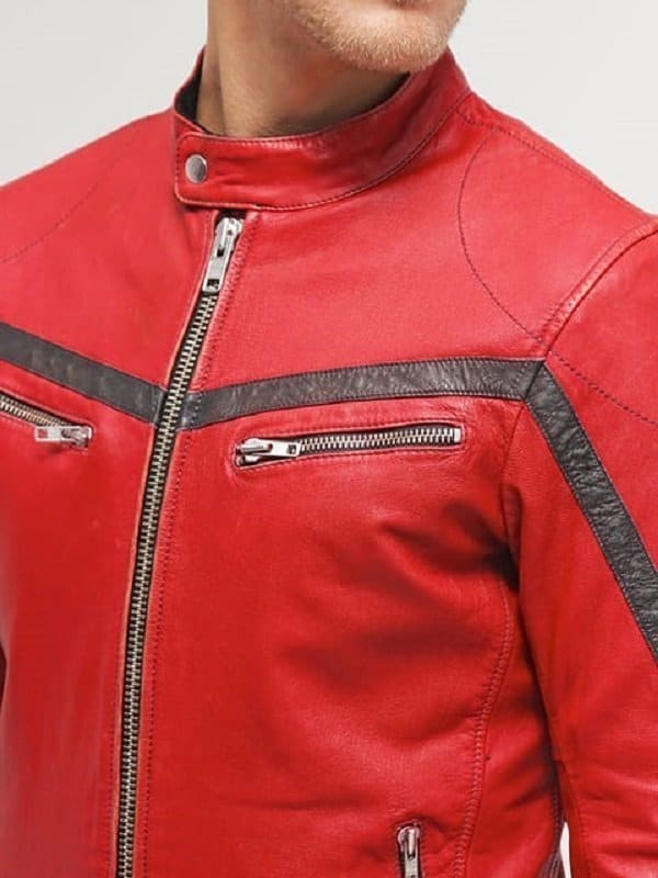 Men Cafe Racer Red Leather Motorcycle Jacket