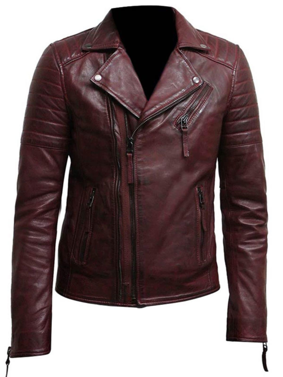 Men Cross Zipper Burgundy Motorcycle Jacket