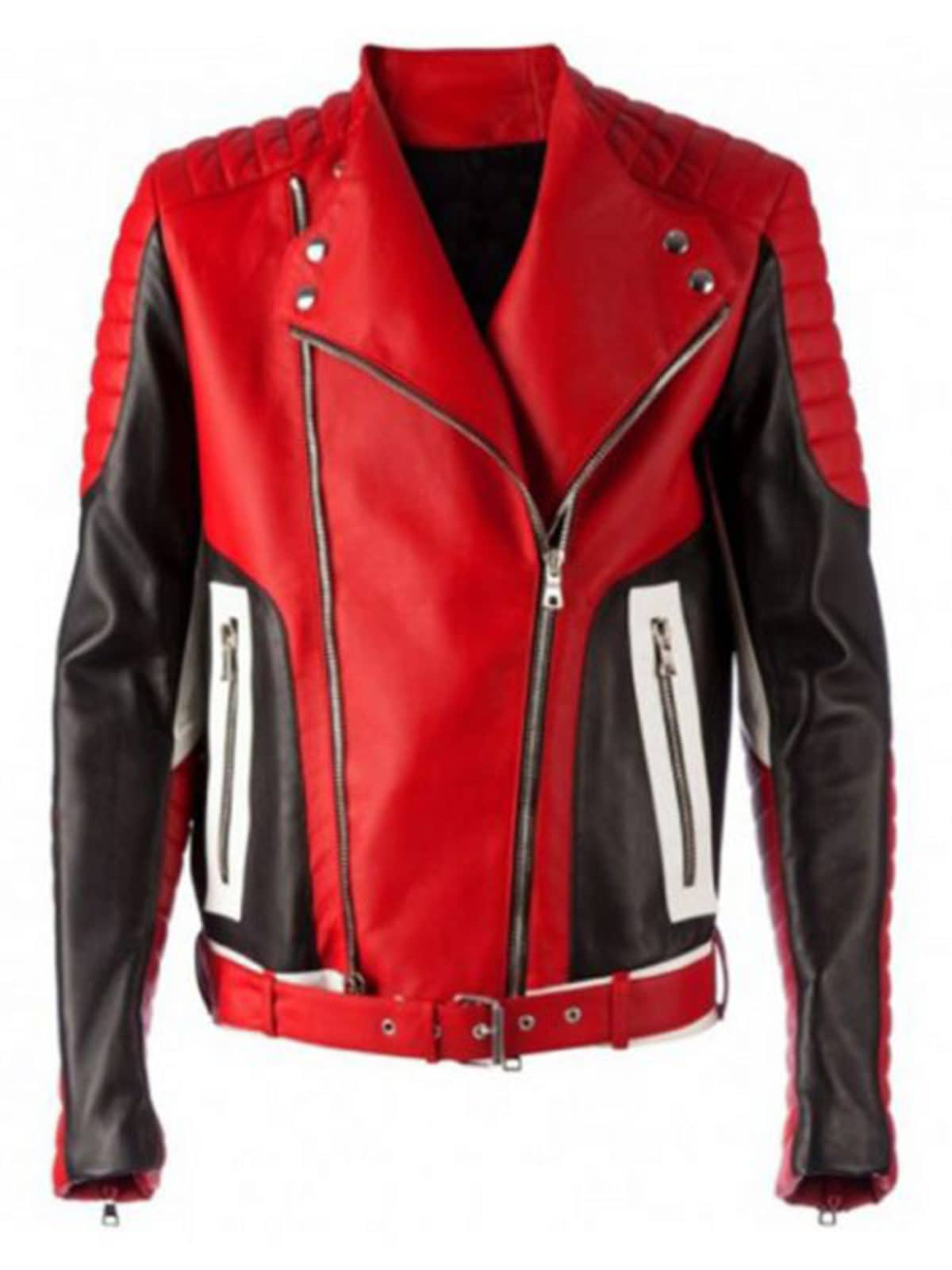 Men Fashion Bikers Red Leather Jacket