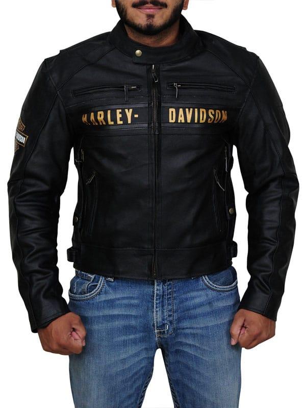 Men Passing Harley Davidson Cowhide Leather Jacket