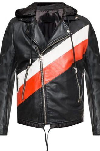 Men Striped Leather Jacket Biker Style