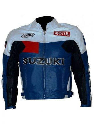 Men Suzuki Blue And White Motorcycle Jacket