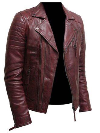 Mens Burgundy Color Biker Style Leather Jacket