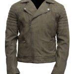 Mens Grey Suede Leather Motorcycle Jacket