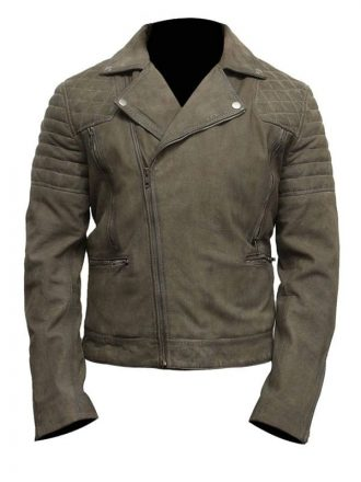 Mens Grey Suede Leather Motorcycle Jacket