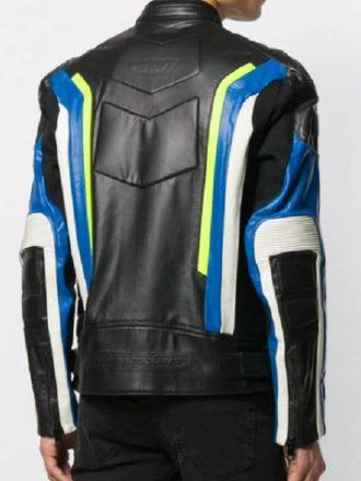 Panelled Color Biker Leather Jacket Men