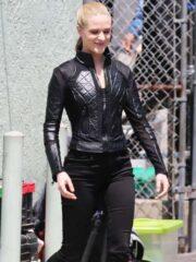 Quilted Black Leather Jacket worn by Evan Rachel Wood in Westworld Season 3
